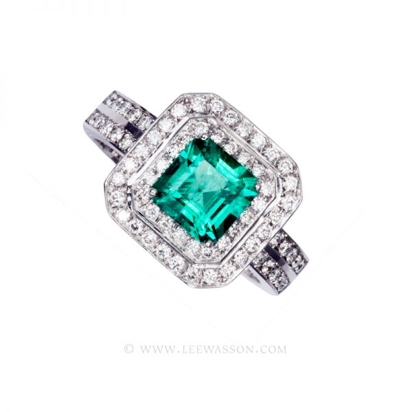 Colombian Emerald Ring, Emerald Cut Emerald Engagement Ring, 18k White Gold 19600