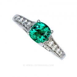 Colombian Emerald Ring, Cushion cut Emeralds Engagement Rings set in 18k White Gold
