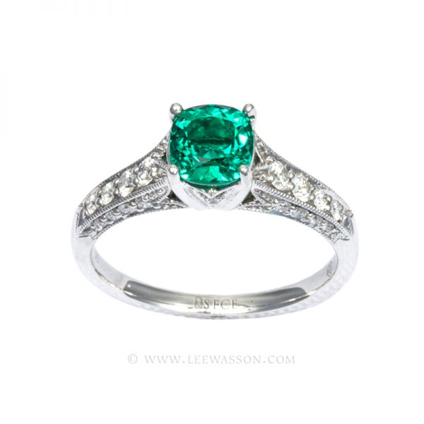 Colombian Emerald Ring, Cushion Cut, 18k White Gold