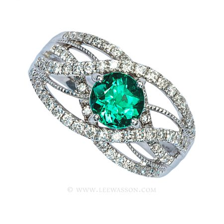 Colombian Emerald Ring, Brilliant cut EEmerald Engagement Rin in 18k White Gold