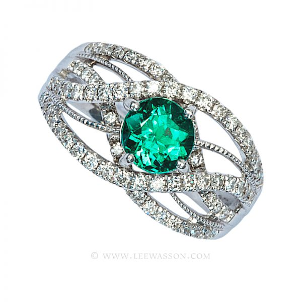 Colombian Emerald Ring, Brilliant cut Emerald Engagement Ring, 18k White Gold 19616