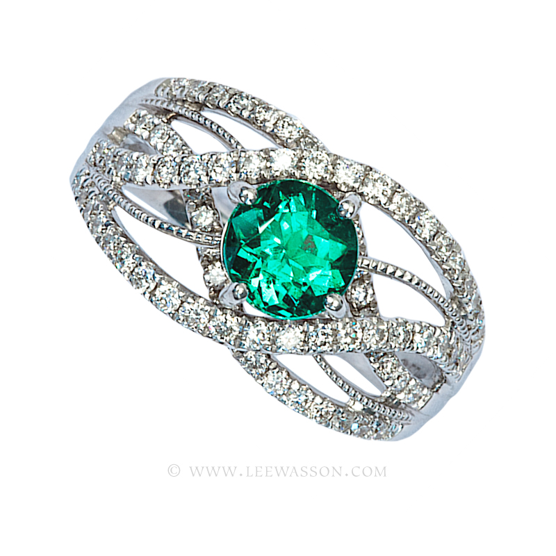 Colombian Emerald Ring Brilliant Cut Emerald Engagement