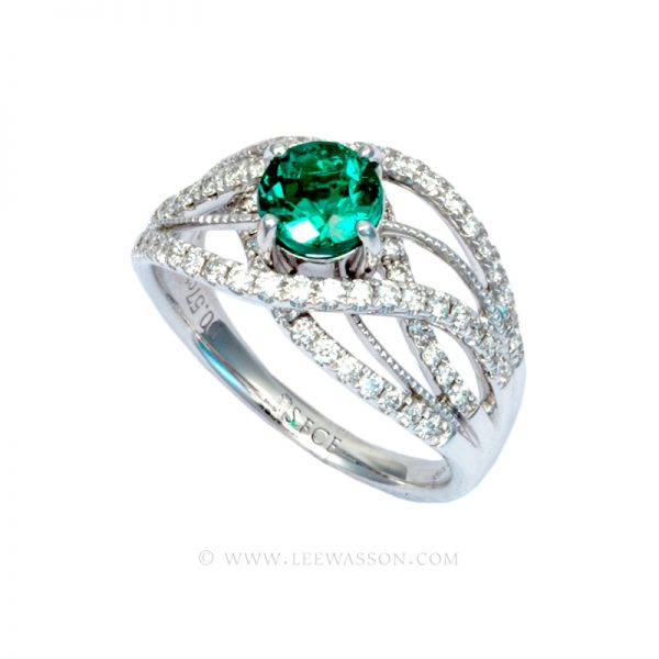 Brilliant Cut Colombian Emerald Ring, Bright Dark Green from Chivor Mine in 18K White Gold & Diamonds. Engagement Ring Vintage Style. leewasson.com - 19616 -3
