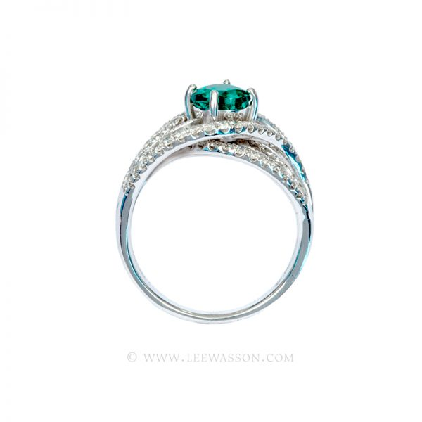 Brilliant Cut Colombian Emerald Ring, Bright Dark Green from Chivor Mine in 18K White Gold & Diamonds. Engagement Ring Vintage Style. leewasson.com - 19616 - 4