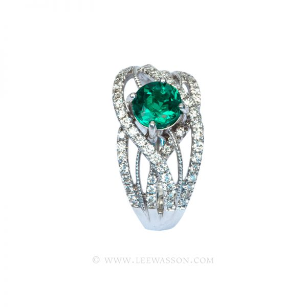 Brilliant Cut Colombian Emerald Ring, Bright Dark Green from Chivor Mine in 18K White Gold & Diamonds. Engagement Ring Vintage Style. leewasson.com - 19616 - 5