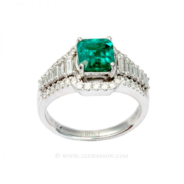 Colombian Emerald Ring, Emerald Cut Emeralds set in 18K White Gold 19610