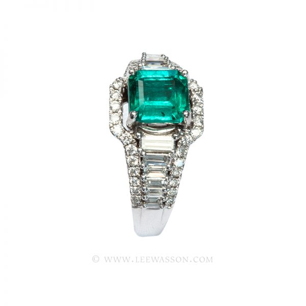Colombian Emerald Ring, Emerald Cut Emeralds set in 18K White Gold, Lee Wasson offers One of a Kind Colombian Emeralds Engagement Rings & Emeralds Jewelry.