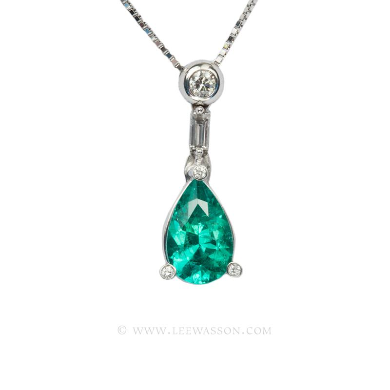 Colombian Emerald Pendant, Pear shape Emeralds Pendants set in 18k White Gold