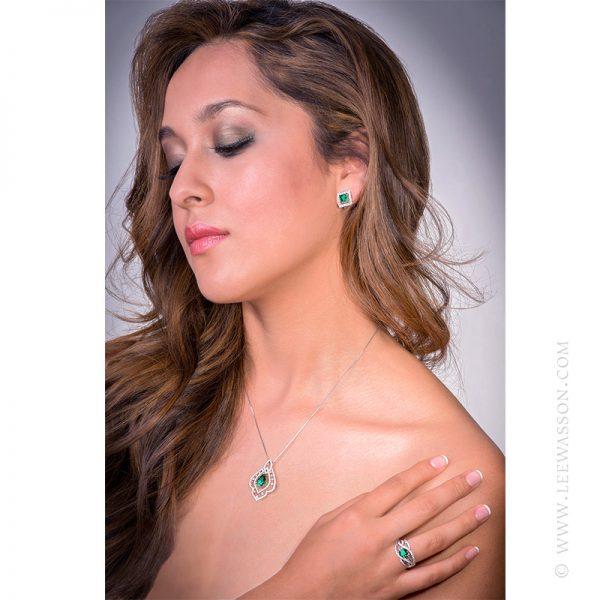 Colombian Emerald Ring, Brilliant cut Emerald set in18k White Gold 19616