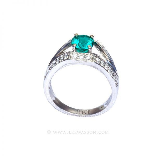 Colombian Emerald Ring, Brilliant Cut Emerald, Approx. 1.00 Carat. leewasson.com – 19619 - 4