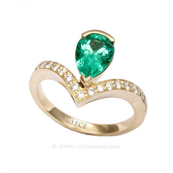 Colombian Emerald Ring, Pear shape Emerald Engagement Ring set in 18K Yellow Gold 19574