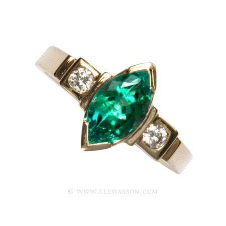 Colombian Emerald Ring, Marquise cut Emerald Engagement rings in 18k Yellow Gold
