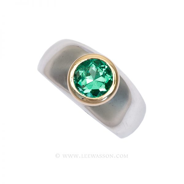 Colombian Emerald Ring,  Brilliant cut Emerald Engagement Ring, 18k White Gold