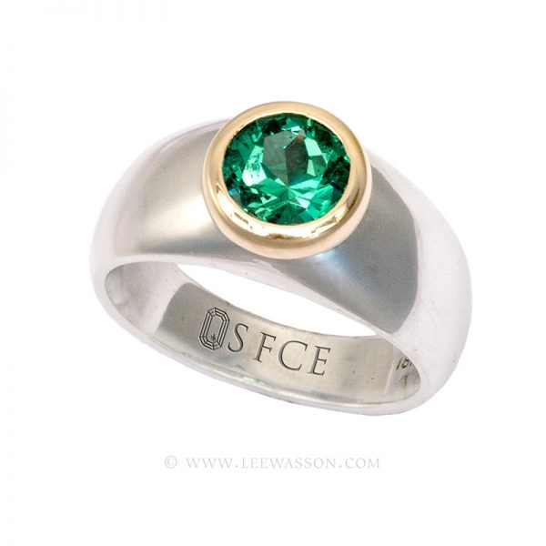 Colombian Emerald Ring, Brilliant cut Emeralds Engagement Rings, 18k White Gold 19623