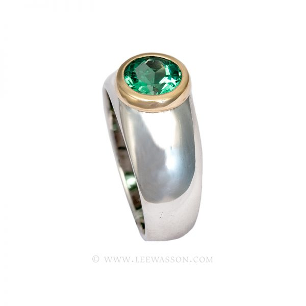 Colombian Emerald Ring, Brilliant cut Emeralds Engagement Ring, set in 18k White Gold 19623