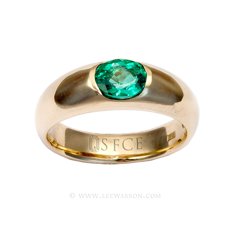 Colombian Emerald Ring, Oval cut, Emerald Engagement Rings, 18k Yellow Gold 19627