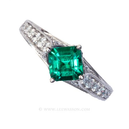 Colombian Emerald Ring, Emerald cut Emeralds Engagement Rings set in 18k White Gold. leewasson.com - 19629 - 1