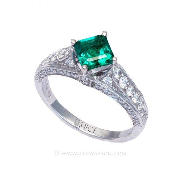 Colombian Emerald Ring, Emerald cut Emeralds Engagement Rings set in 18k White Gold. leewasson.com - 19629 - 4