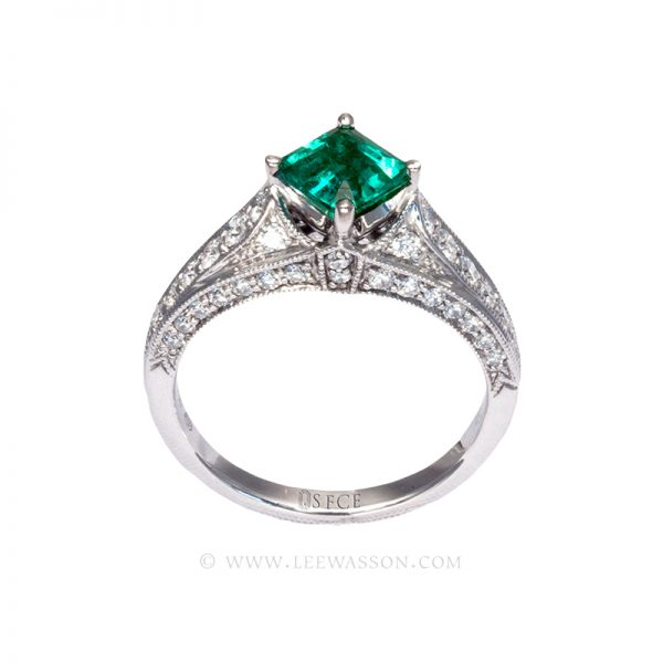 Colombian Emerald Ring, Emerald cut Emeralds Engagement Rings set in 18k White Gold. leewasson.com - 19629 - 3