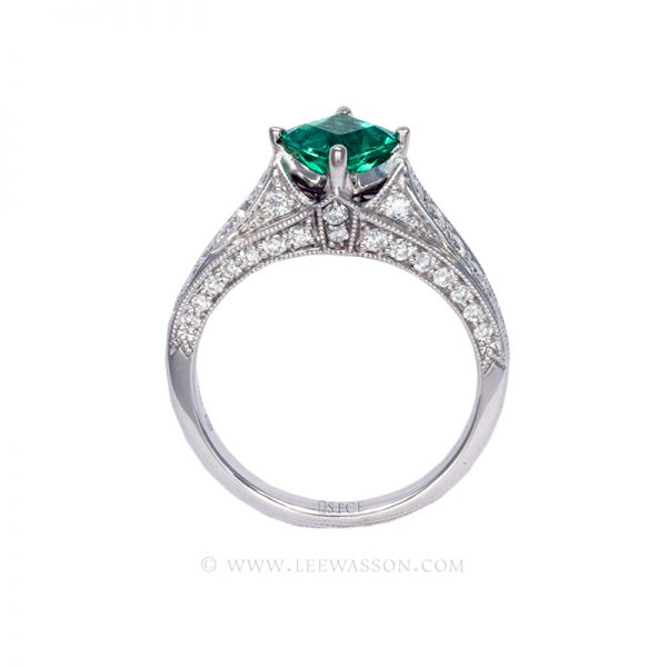 Colombian Emerald Ring, Emerald cut Emeralds Engagement Rings set in 18k White Gold. leewasson.com - 19629 - 2