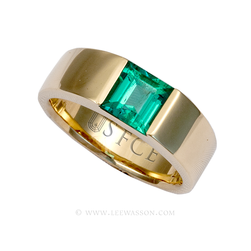 Colombian Emerald Ring Square Emerald Engagement Ring 18k Gold