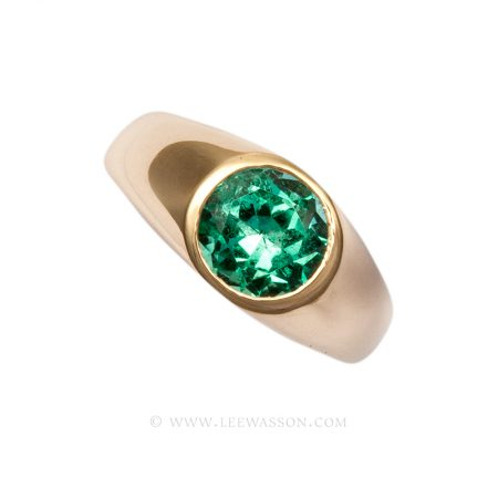 Colombian Emerald Ring, Brilliant cut, Emerald Engagement Ring, 18 carat Yellow Gold