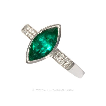 Colombian Emerald Ring, Marquise cut Emeralds Engagement Rings set in 18k White Gold