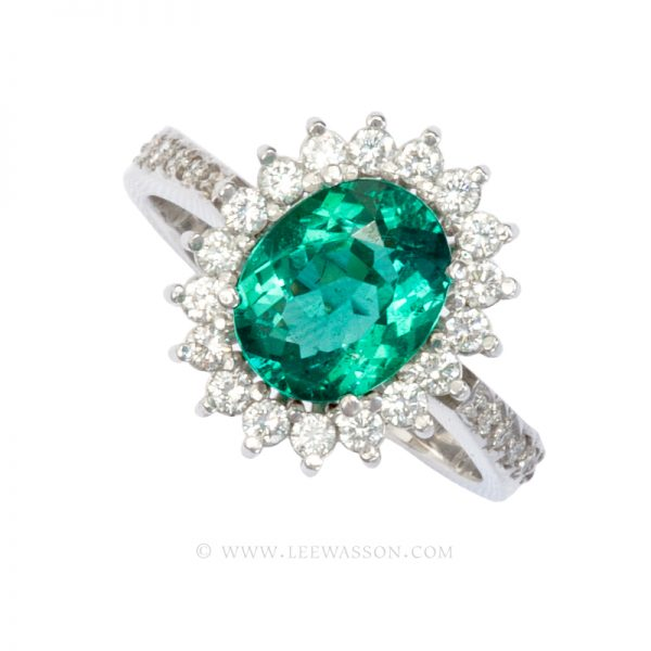 Colombian Emerald Ring, Oval Shape Emerald Engagement Rings, 18k White Gold