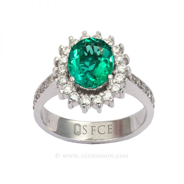 Colombian Emerald Ring, Oval Shape Emeralds Engagement Rings set in 18k White Gold. leewasson.com 19636 - 2