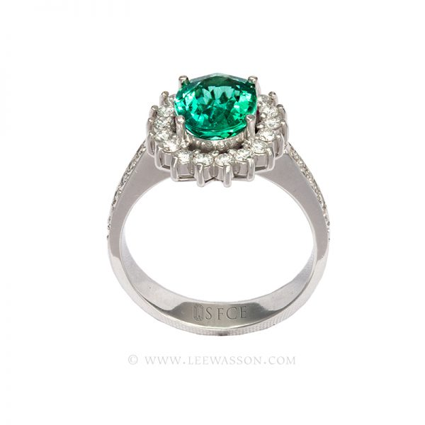 Colombian Emerald Ring, Oval Shape Emeralds Engagement Rings set in 18k White Gold. leewasson.com 19636 - 3