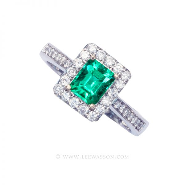 Colombian Emerald Ring, Emerald Cut Emerald Engagement Ring, 18k White Gold, 19637