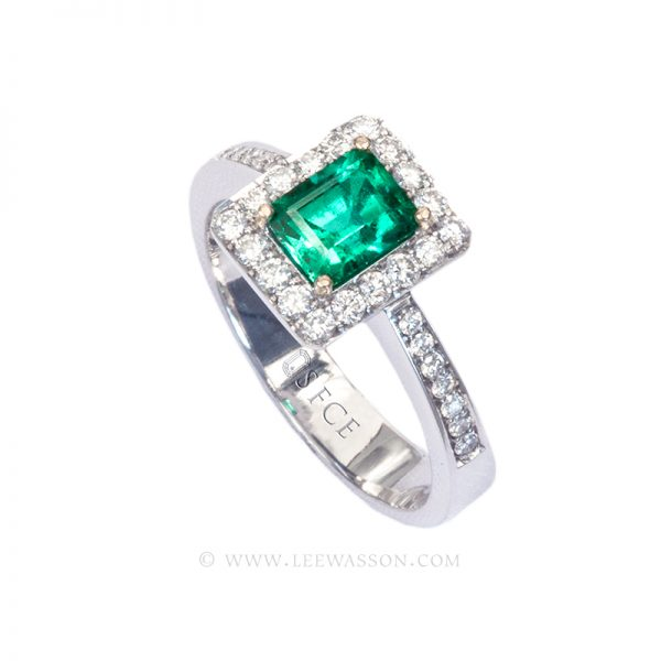 Colombian Emerald Ring, Emerald Cut Emerald set in 18k White Gold Ring 19637