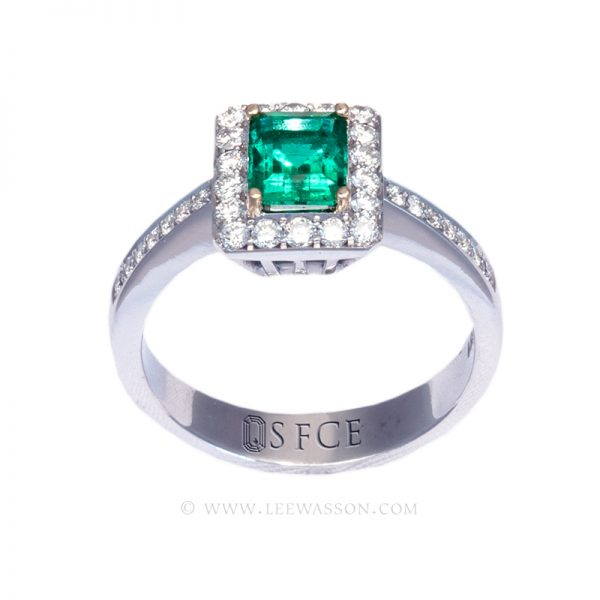 Colombian Emerald Ring Rectangle 18k White Gold Ring 19637