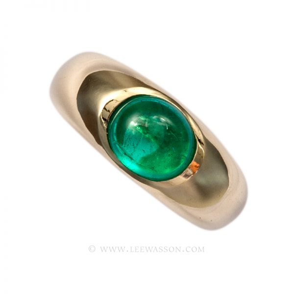 Colombian Emerald Ring, Cabochon cut Emerald Engagement Ring, 18 carat Yellow Gold