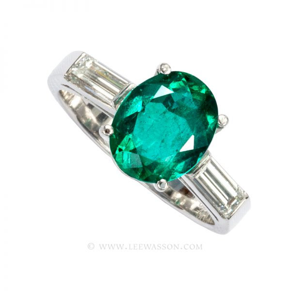 Colombian Emerald Ring,  Oval Cut Emerald Engagement Rings, 18K White Gold