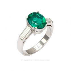 Colombian Emerald Ring Oval Muzo 18k White Gold 19639