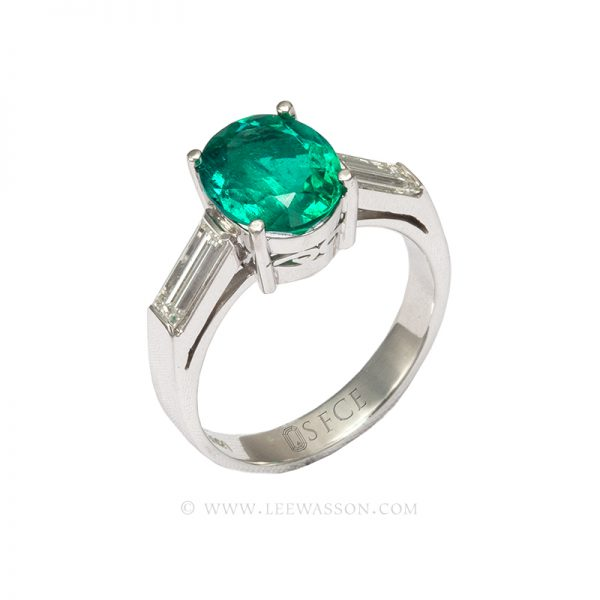 Colombian Emerald Ring, Oval Cut Emerald set in 18K White Gold 19639