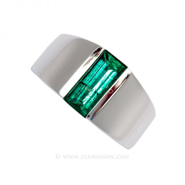 Colombian Emerald Ring, Emerald cut Emerald Engagement Rings set  in 18k White Gold