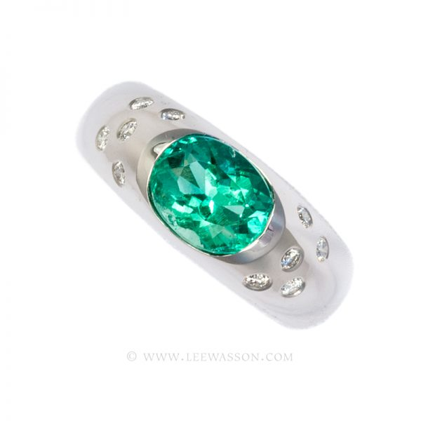Colombian Emerald Ring, Oval cut Emerald Engagement Rings,18k White Gold