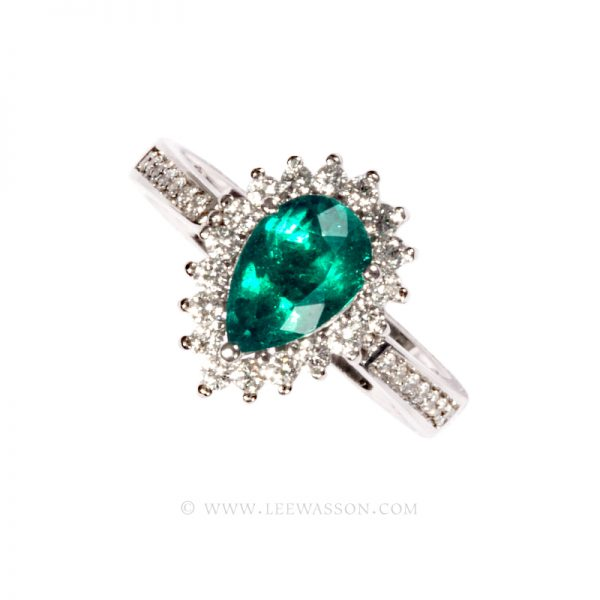 Colombian Emerald Ring, Pear Shape Emerald Engagement ring,18k White Gold 19648