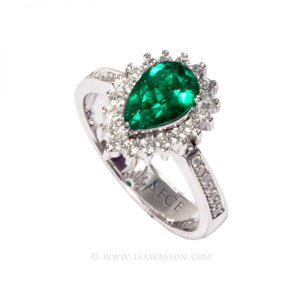 Colombian Emerald Ring, Pear shape Emerald Ring set in 18k White Gold