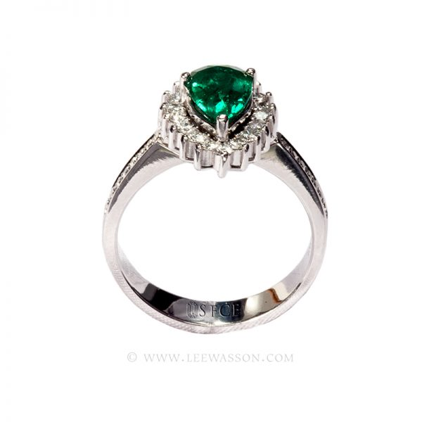 Colombian Emerald Ring, Pear Shape Emerald set in 18k White Gold 19648
