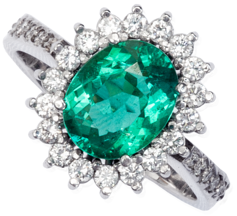 Colombian Emerald Ring, Oval Shape Emeralds Engagement Rings set in 18k White Gold. leewasson.com 19636 - 5