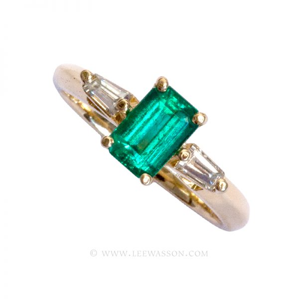 Colombian Emerald Ring, Emerald cut Emerald Engagement Rings, 18k Yellow Gold