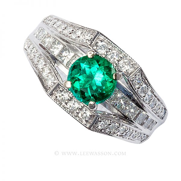 Colombian Emerald Ring, Brilliant Cut Emerald, Approx. 1.00 Carat. leewasson.com – 19619 - 1