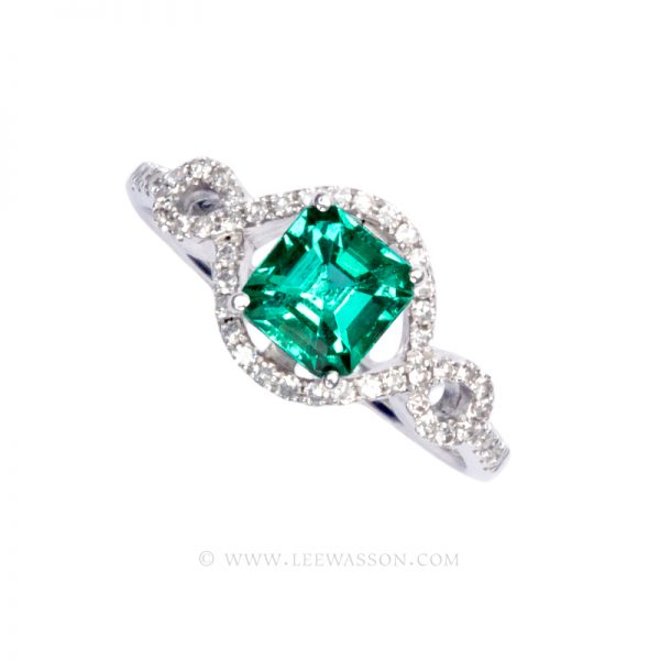 Colombian Emerald Ring, Emerald Engagement Rings, 18k White Gold