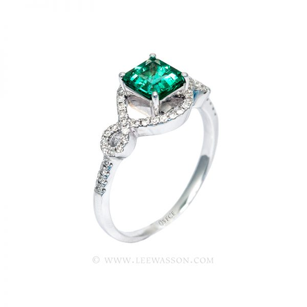 Colombian Emerald Ring, Emerald Cut Emerald set in 18k White Gold 19651