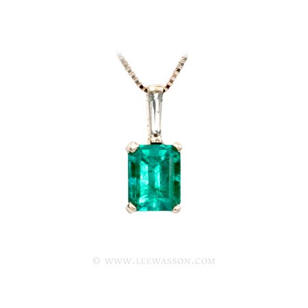 Colombian Emerald Pendant, Emerald cut Emerald Necklace, 18k Yellow Gold 19657