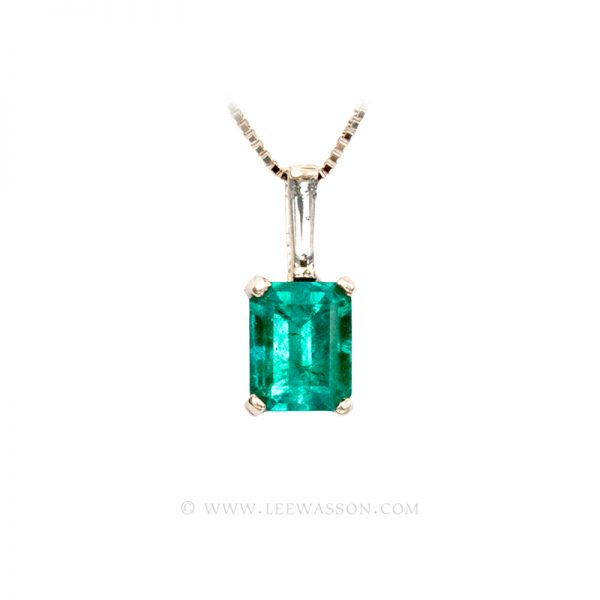 Colombian Emerald Pendant, Emerald cut Emerald Necklace, 18k Yellow Gold 19657