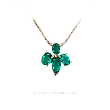 Colombian Emerald Pendant, Oval Emeralds Necklace in 18k Yellow Gold